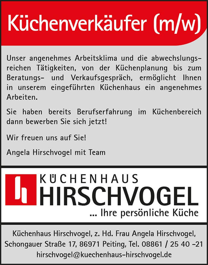 Küchenverkäufer Gesucht ~ Küchenhaus Hirschvogel Ihre persönliche Küche  Partner in